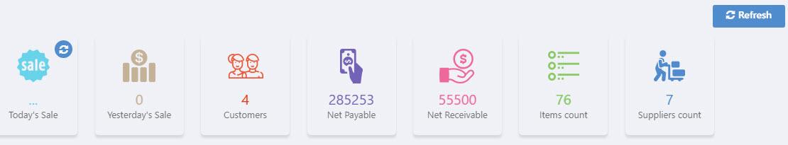 quick business metrics on Nimbus RMS Dashboard