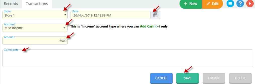 Creating a transaction