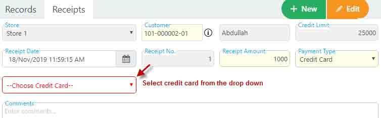 Recording customer receipt details