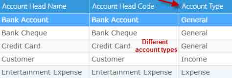 Different account types