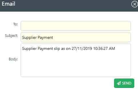 Emailing supplier payment receipt
