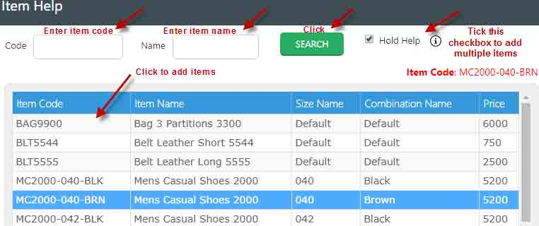 select item by clicking