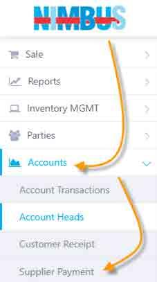 Supplier Payment Main menu navigation