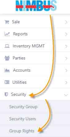 Group Rights: Main menu navigation