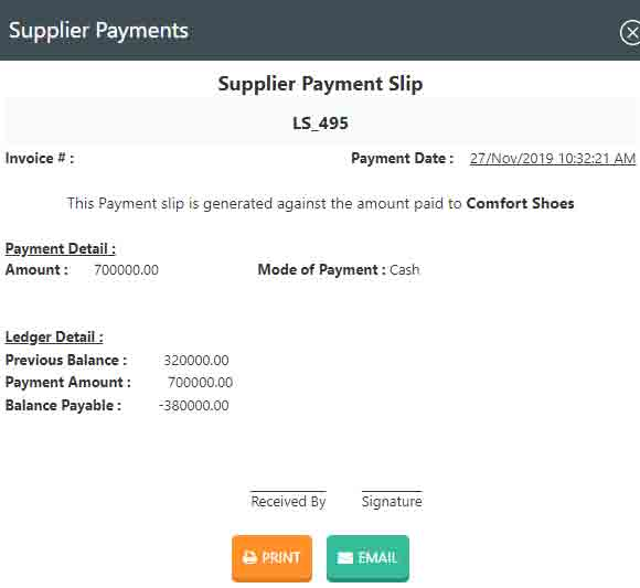 Printing supplier payment receipt