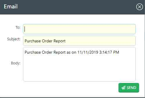 Emailing purchase order report