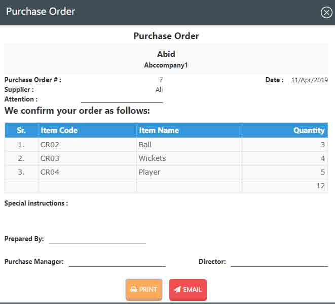 Printing Purchase order receipt