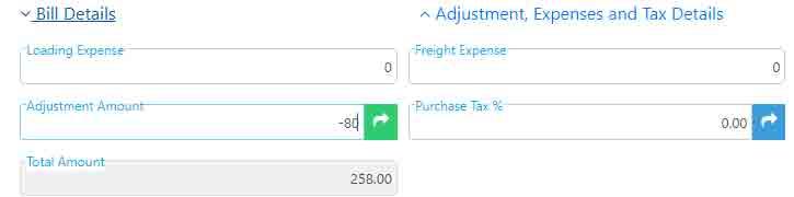 Total amount after negative adjustment