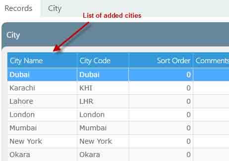 Cities records