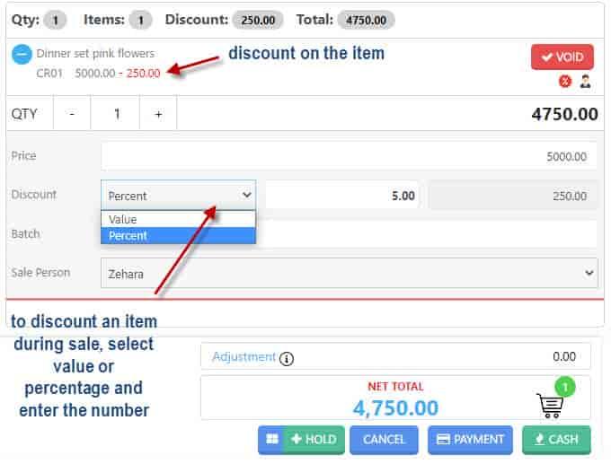applying discount on Nimbus POS