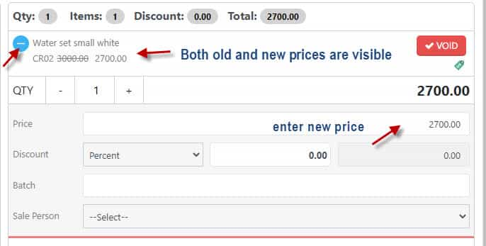How to edit price while selling