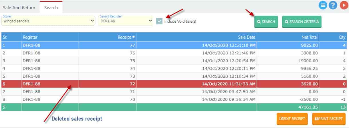 Searching deleted sales receipt in Nimbus online retail software